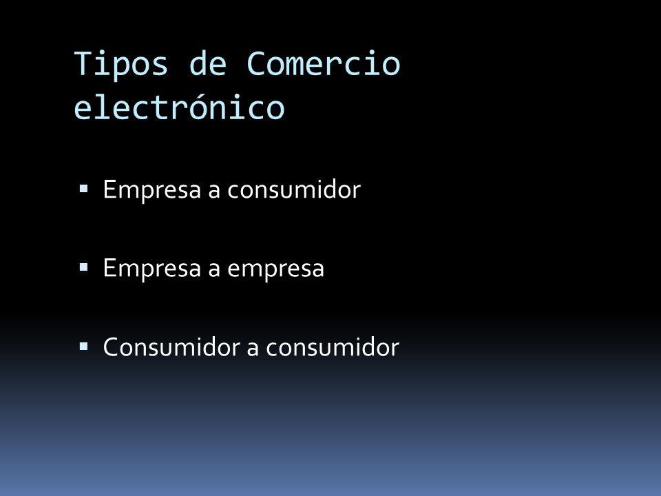 Tipos de Comercio electrónico Empresa a consumidor Empresa a empresa Consumidor a consumidor