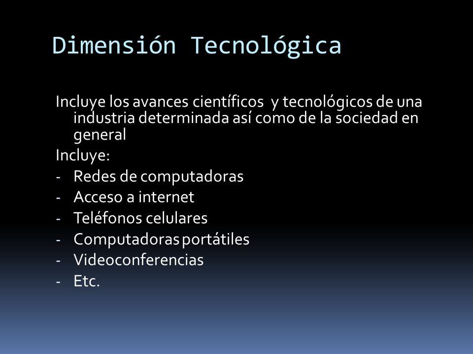 Dimensión Tecnológica Incluye los avances científicos y tecnológicos de una industria determinada así como de la sociedad en general Incluye: - Redes