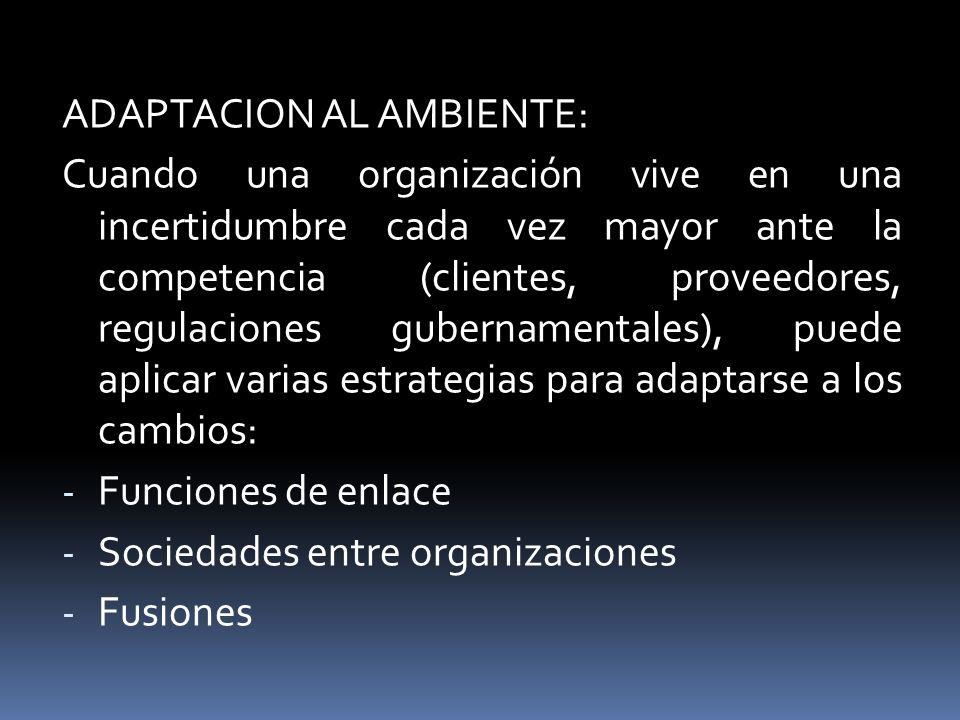 ADAPTACION AL AMBIENTE: Cuando una organización vive en una incertidumbre cada vez mayor ante la competencia (clientes, proveedores, regulaciones gube