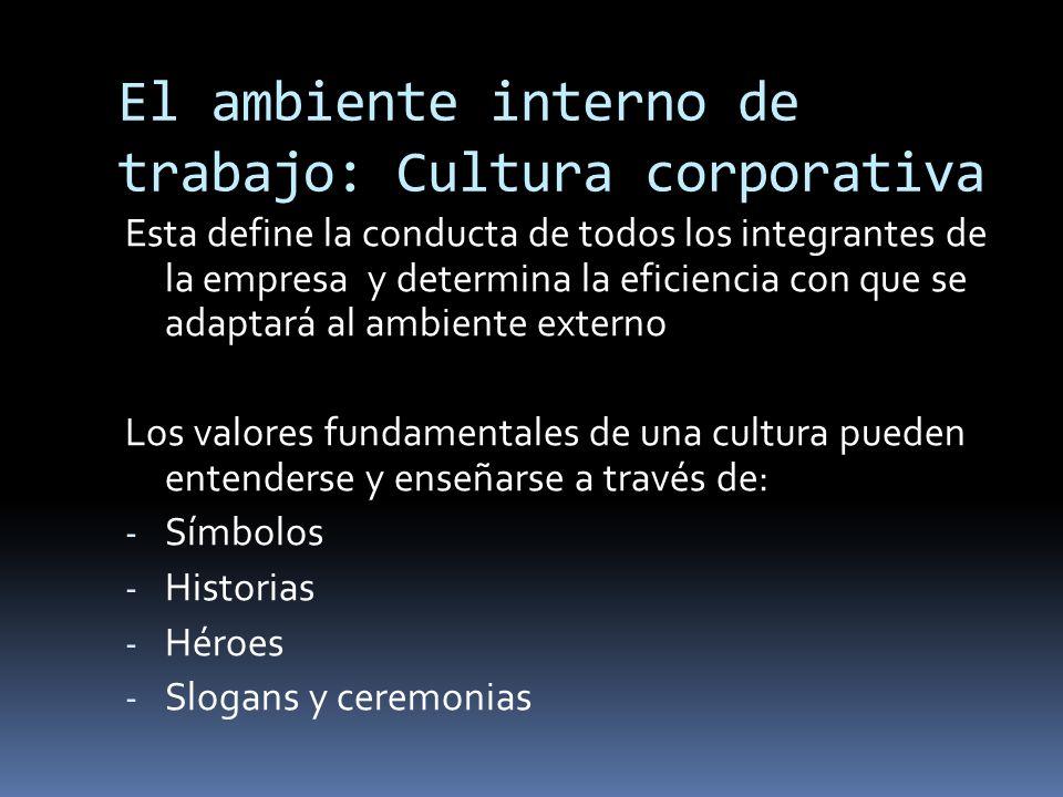 El ambiente interno de trabajo: Cultura corporativa Esta define la conducta de todos los integrantes de la empresa y determina la eficiencia con que s
