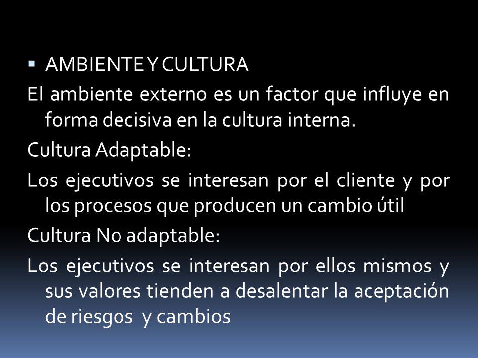 AMBIENTE Y CULTURA El ambiente externo es un factor que influye en forma decisiva en la cultura interna. Cultura Adaptable: Los ejecutivos se interesa