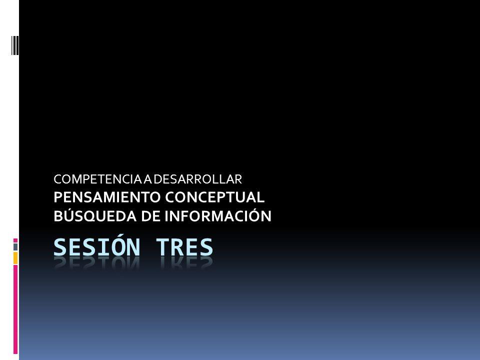 COMPETENCIA A DESARROLLAR PENSAMIENTO CONCEPTUAL BÚSQUEDA DE INFORMACIÓN