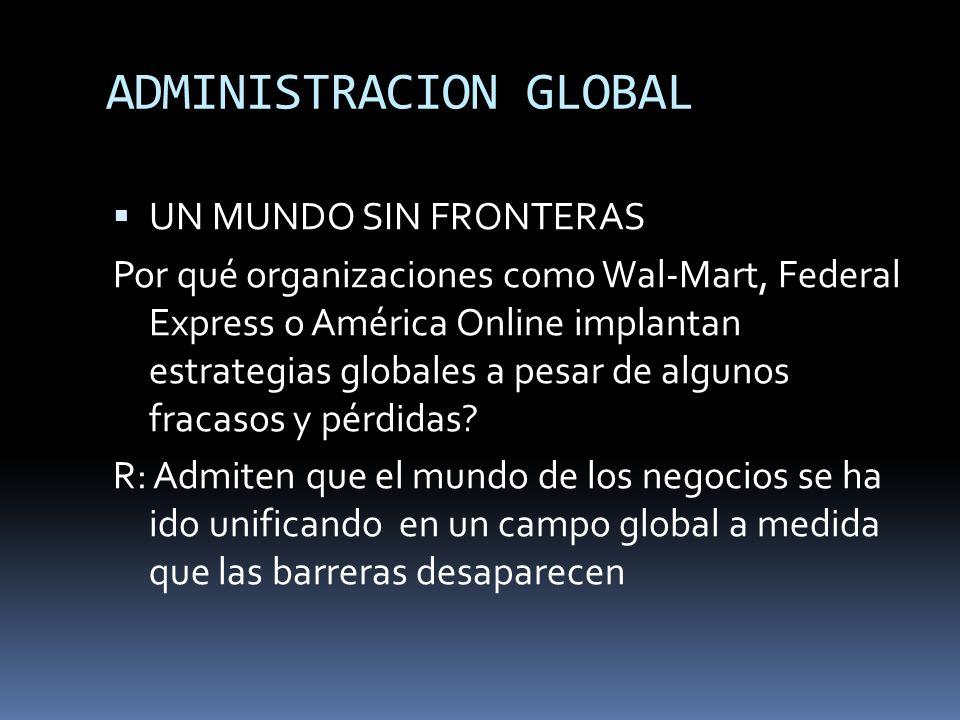 ADMINISTRACION GLOBAL UN MUNDO SIN FRONTERAS Por qué organizaciones como Wal-Mart, Federal Express o América Online implantan estrategias globales a p