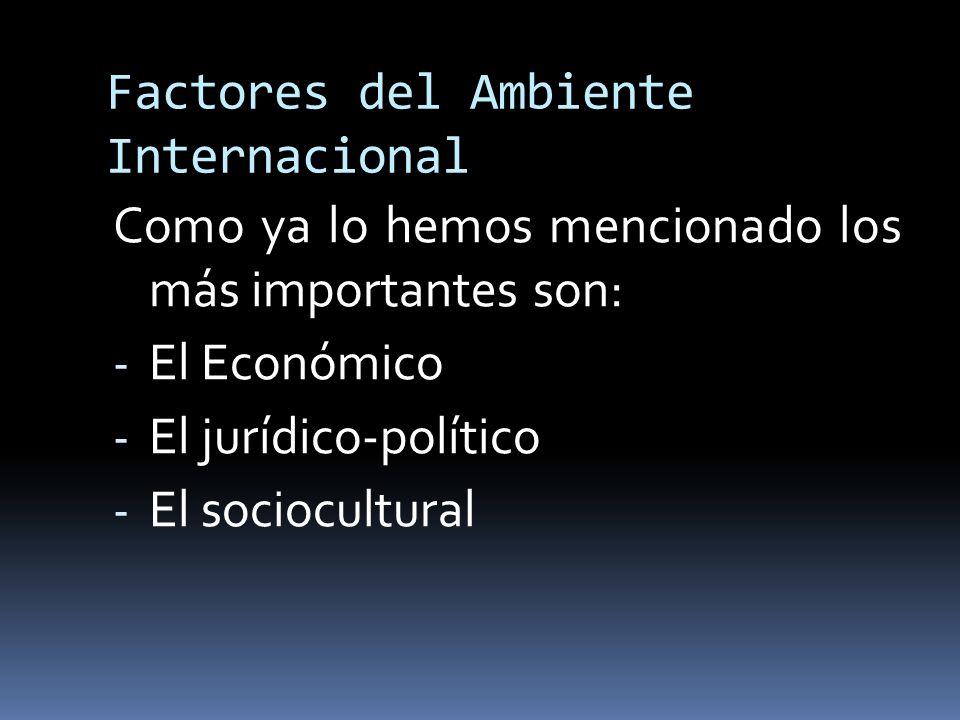 Factores del Ambiente Internacional Como ya lo hemos mencionado los más importantes son: - El Económico - El jurídico-político - El sociocultural