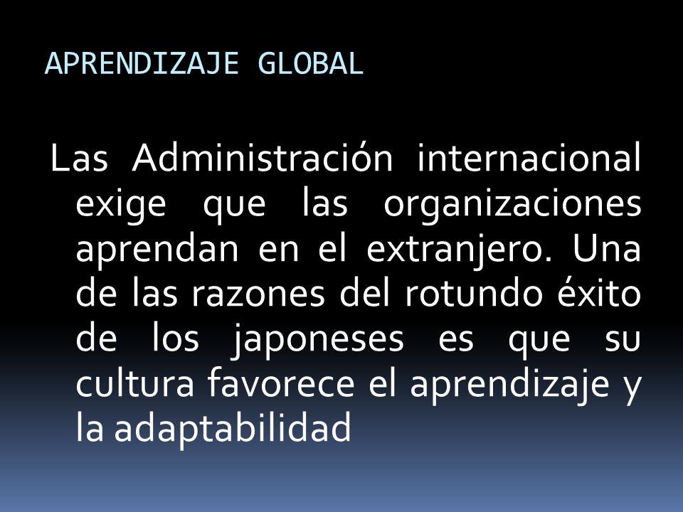 APRENDIZAJE GLOBAL Las Administración internacional exige que las organizaciones aprendan en el extranjero. Una de las razones del rotundo éxito de lo