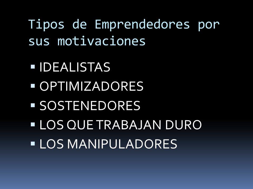 Tipos de Emprendedores por sus motivaciones IDEALISTAS OPTIMIZADORES SOSTENEDORES LOS QUE TRABAJAN DURO LOS MANIPULADORES