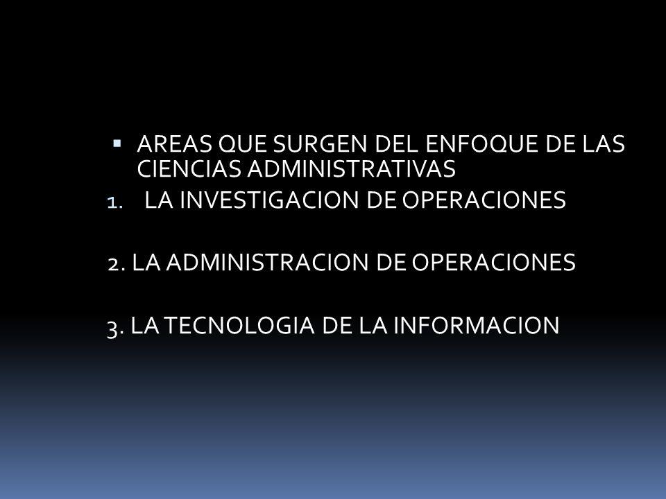 AREAS QUE SURGEN DEL ENFOQUE DE LAS CIENCIAS ADMINISTRATIVAS 1. LA INVESTIGACION DE OPERACIONES 2. LA ADMINISTRACION DE OPERACIONES 3. LA TECNOLOGIA D