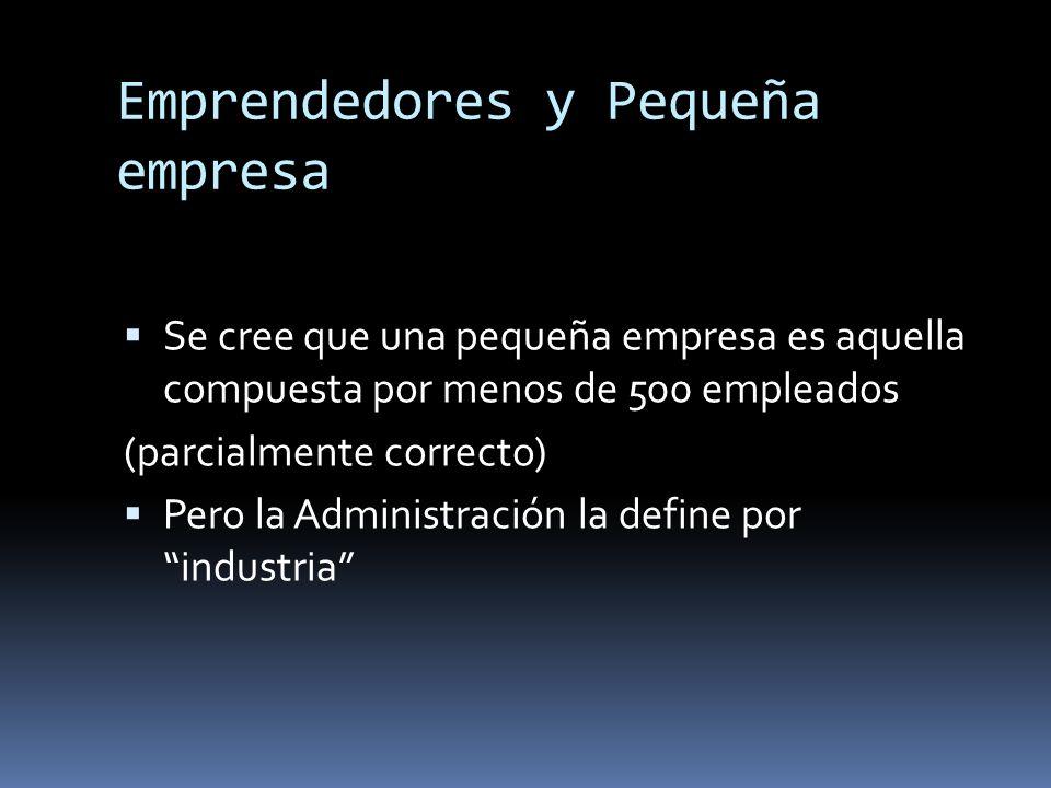 Emprendedores y Pequeña empresa Se cree que una pequeña empresa es aquella compuesta por menos de 500 empleados (parcialmente correcto) Pero la Admini