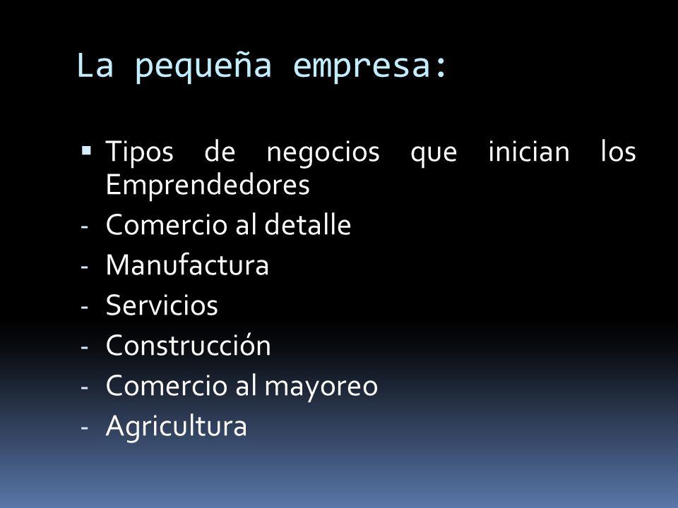 La pequeña empresa: Tipos de negocios que inician los Emprendedores - Comercio al detalle - Manufactura - Servicios - Construcción - Comercio al mayor