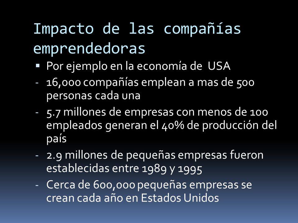 Impacto de las compañías emprendedoras Por ejemplo en la economía de USA - 16,000 compañías emplean a mas de 500 personas cada una - 5.7 millones de e
