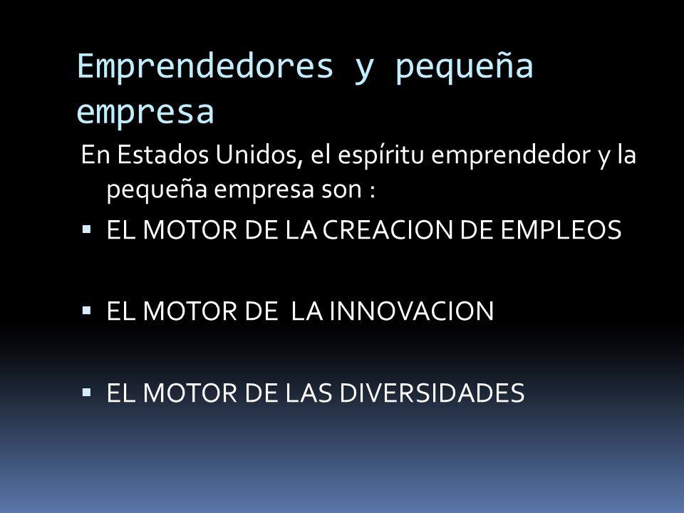 Emprendedores y pequeña empresa En Estados Unidos, el espíritu emprendedor y la pequeña empresa son : EL MOTOR DE LA CREACION DE EMPLEOS EL MOTOR DE L