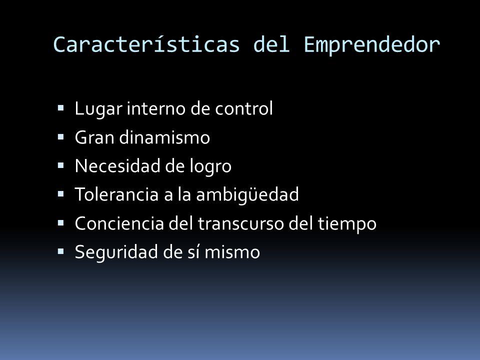 Características del Emprendedor Lugar interno de control Gran dinamismo Necesidad de logro Tolerancia a la ambigüedad Conciencia del transcurso del ti