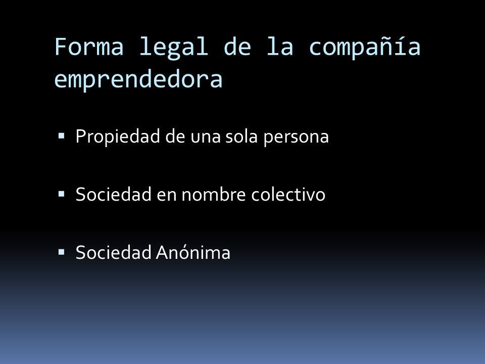 Forma legal de la compañía emprendedora Propiedad de una sola persona Sociedad en nombre colectivo Sociedad Anónima