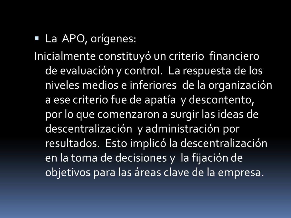 La APO, orígenes: Inicialmente constituyó un criterio financiero de evaluación y control. La respuesta de los niveles medios e inferiores de la organi