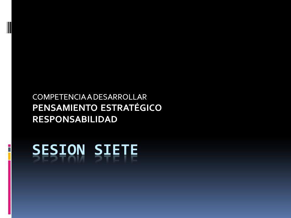 COMPETENCIA A DESARROLLAR PENSAMIENTO ESTRATÉGICO RESPONSABILIDAD
