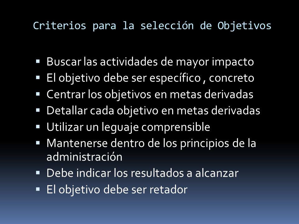 Criterios para la selección de Objetivos Buscar las actividades de mayor impacto El objetivo debe ser específico, concreto Centrar los objetivos en me