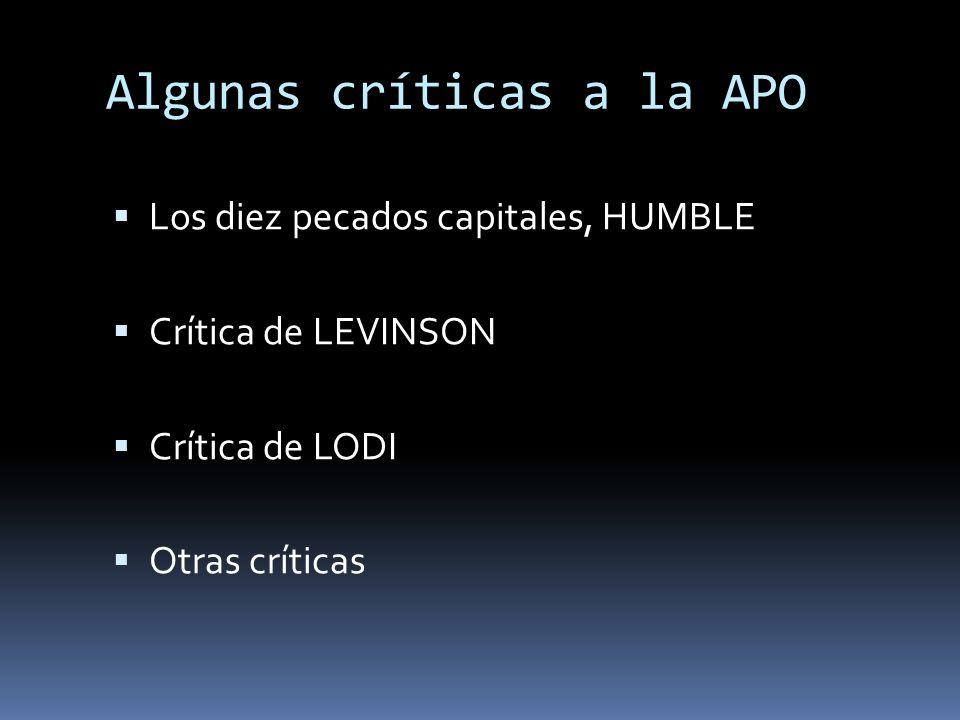 Algunas críticas a la APO Los diez pecados capitales, HUMBLE Crítica de LEVINSON Crítica de LODI Otras críticas