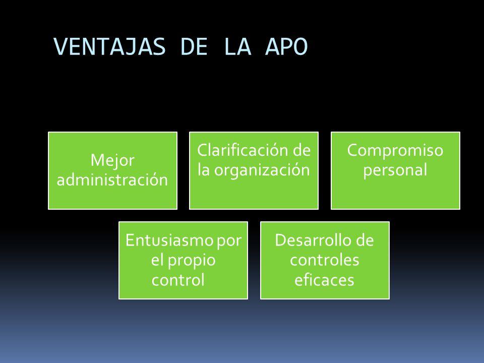 VENTAJAS DE LA APO Mejor administración Clarificación de la organización Compromiso personal Entusiasmo por el propio control Desarrollo de controles