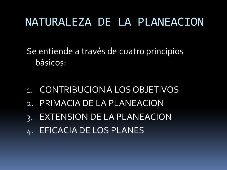 NATURALEZA DE LA PLANEACION Se entiende a través de cuatro principios básicos: 1. CONTRIBUCION A LOS OBJETIVOS 2. PRIMACIA DE LA PLANEACION 3. EXTENSI