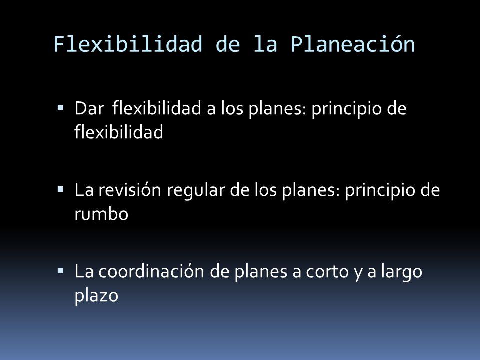 Flexibilidad de la Planeación Dar flexibilidad a los planes: principio de flexibilidad La revisión regular de los planes: principio de rumbo La coordi