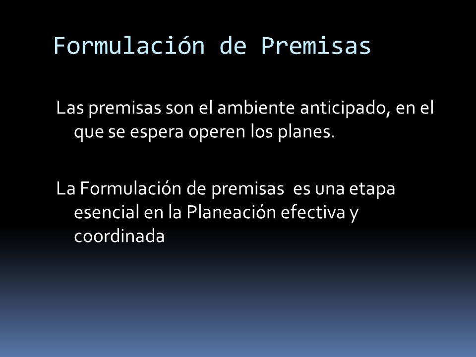 Formulación de Premisas Las premisas son el ambiente anticipado, en el que se espera operen los planes. La Formulación de premisas es una etapa esenci