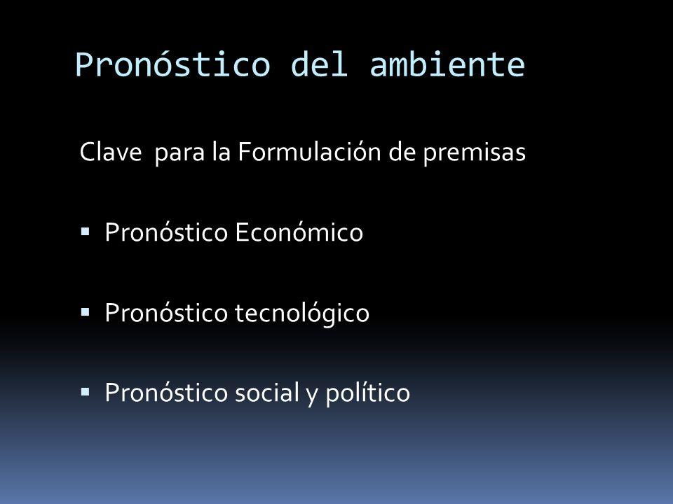 Pronóstico del ambiente Clave para la Formulación de premisas Pronóstico Económico Pronóstico tecnológico Pronóstico social y político