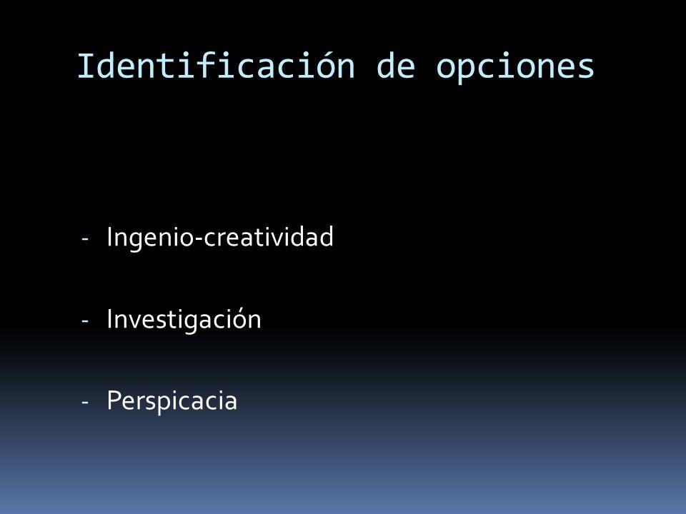Identificación de opciones - Ingenio-creatividad - Investigación - Perspicacia