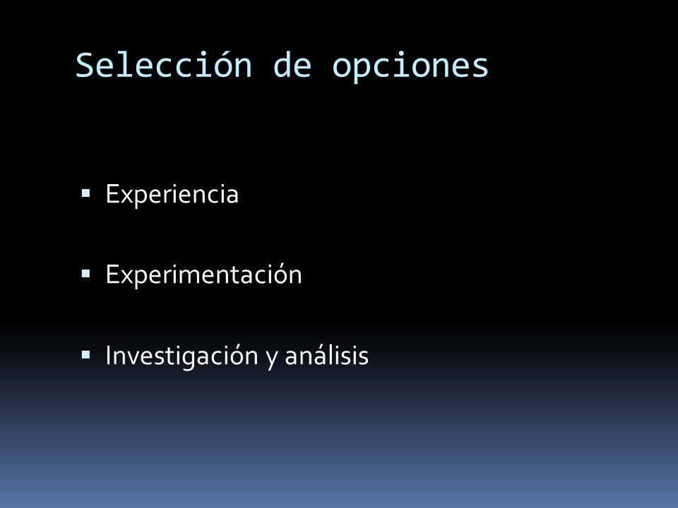 Selección de opciones Experiencia Experimentación Investigación y análisis