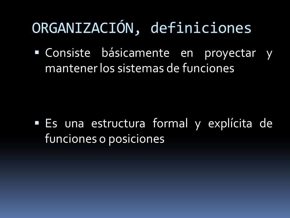 ORGANIZACIÓN, definiciones Consiste básicamente en proyectar y mantener los sistemas de funciones Es una estructura formal y explícita de funciones o