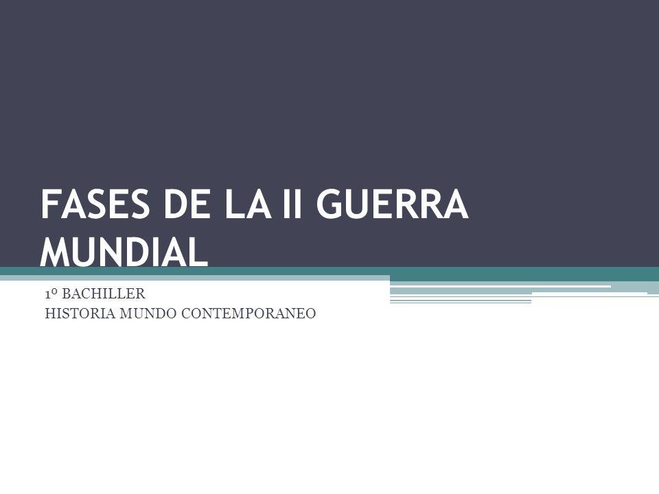 FASES DE LA II GUERRA MUNDIAL 1º BACHILLER HISTORIA MUNDO CONTEMPORANEO