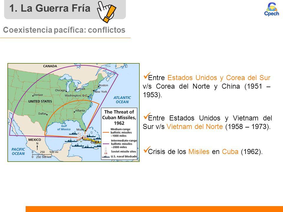 Coexistencia pacífica: conflictos Crisis de los Misiles en Cuba (1962). Entre Estados Unidos y Vietnam del Sur v/s Vietnam del Norte (1958 – 1973). En