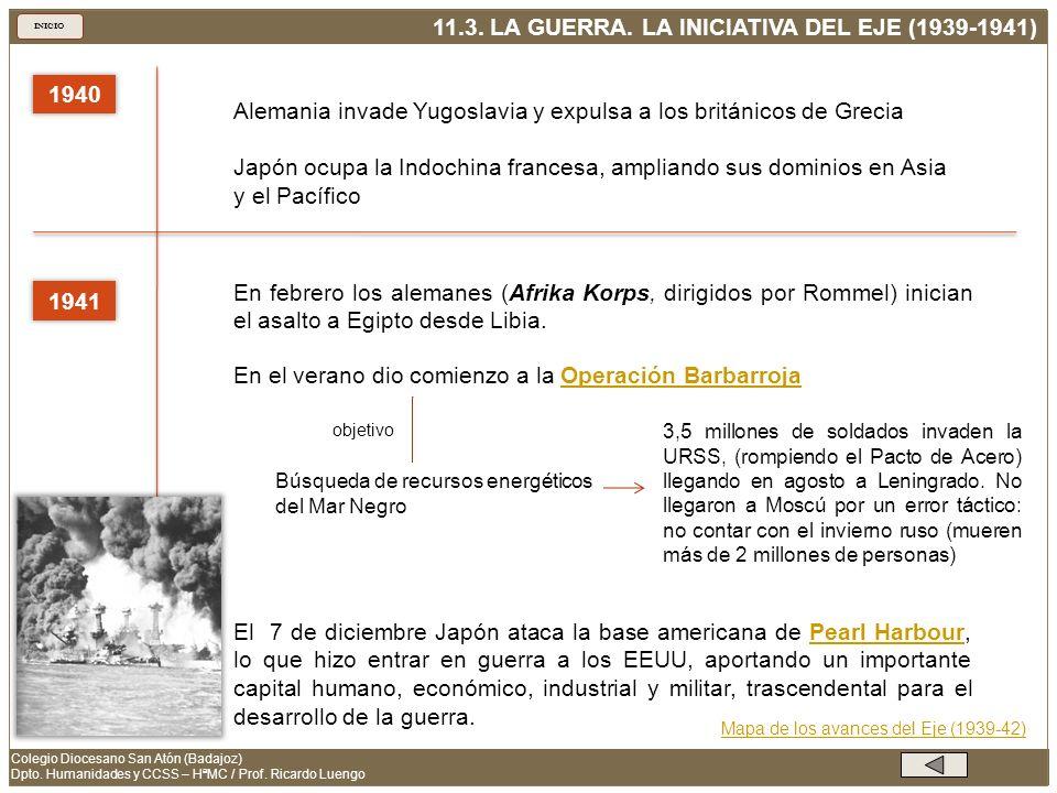 11.4.LA GUERRA. LA OFENSIVA ALIADA (1942-1945) INICIO Colegio Diocesano San Atón (Badajoz) Dpto.