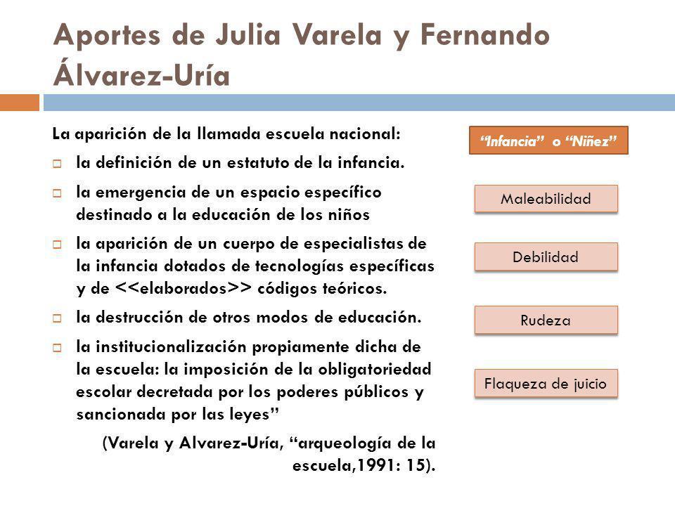 Aportes de Julia Varela y Fernando Álvarez-Uría La aparición de la llamada escuela nacional: la definición de un estatuto de la infancia. la emergenci