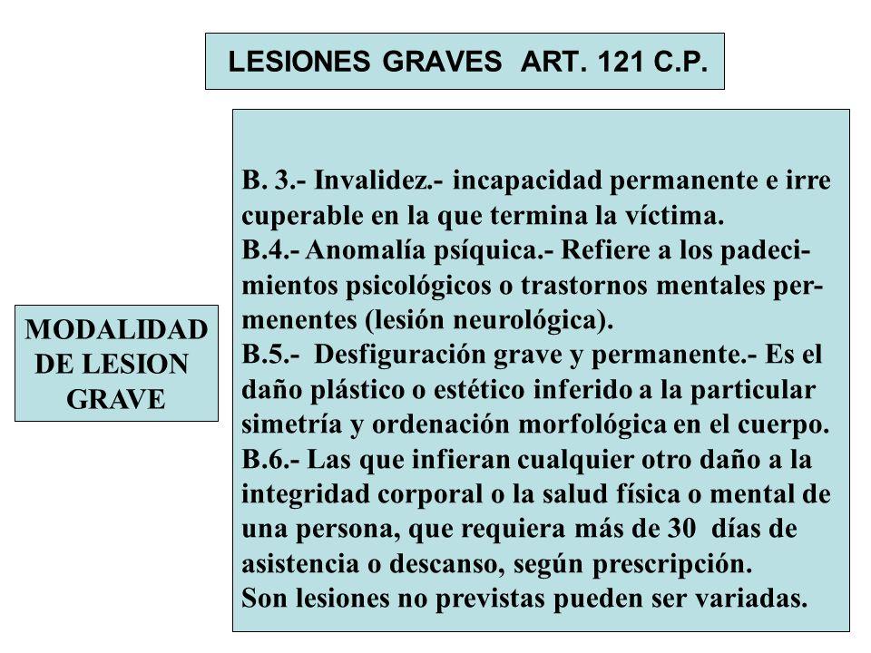 LESIONES GRAVES ART. 121 C.P. MODALIDAD DE LESION GRAVE B. 3.- Invalidez.- incapacidad permanente e irre cuperable en la que termina la víctima. B.4.-
