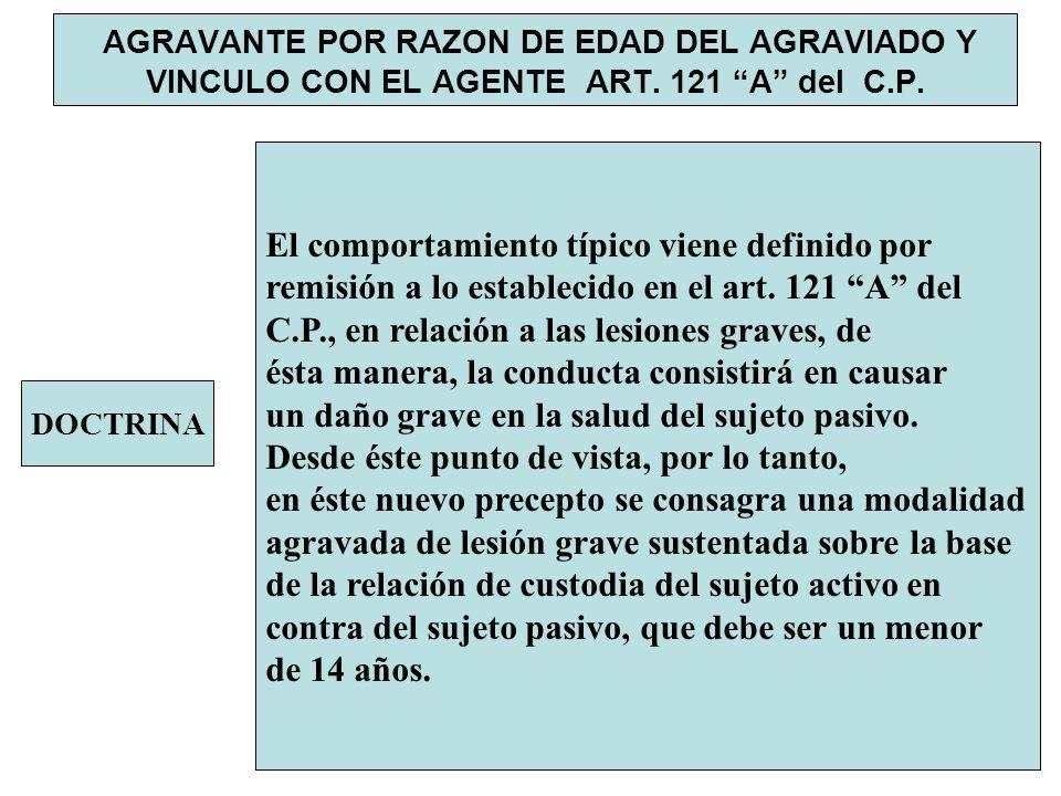 AGRAVANTE POR RAZON DE EDAD DEL AGRAVIADO Y VINCULO CON EL AGENTE ART. 121 A del C.P. DOCTRINA El comportamiento típico viene definido por remisión a