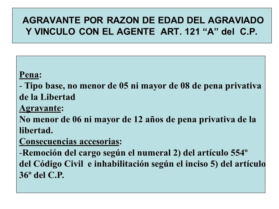 AGRAVANTE POR RAZON DE EDAD DEL AGRAVIADO Y VINCULO CON EL AGENTE ART. 121 A del C.P. Pena: - Tipo base, no menor de 05 ni mayor de 08 de pena privati