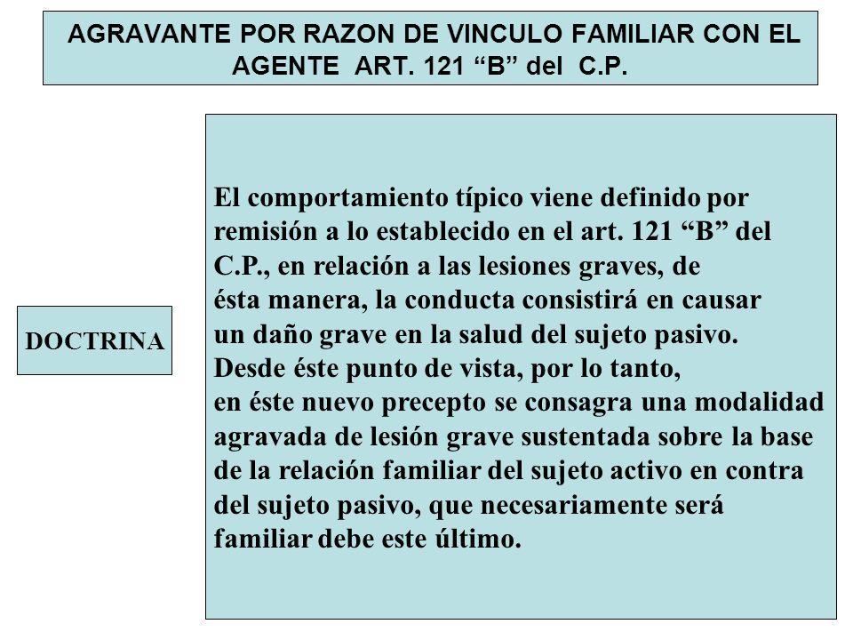 AGRAVANTE POR RAZON DE VINCULO FAMILIAR CON EL AGENTE ART. 121 B del C.P. DOCTRINA El comportamiento típico viene definido por remisión a lo estableci
