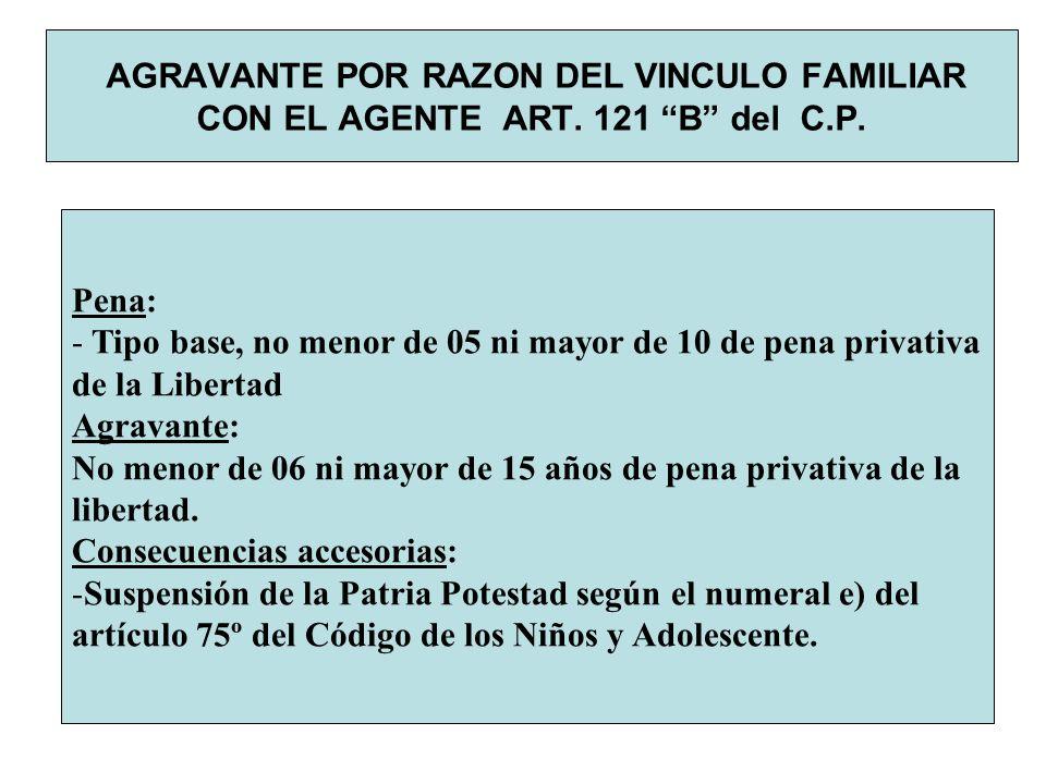 AGRAVANTE POR RAZON DEL VINCULO FAMILIAR CON EL AGENTE ART. 121 B del C.P. Pena: - Tipo base, no menor de 05 ni mayor de 10 de pena privativa de la Li