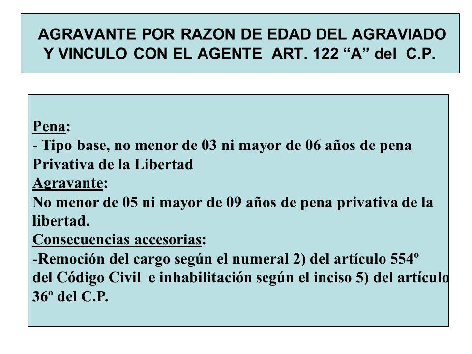 AGRAVANTE POR RAZON DE EDAD DEL AGRAVIADO Y VINCULO CON EL AGENTE ART. 122 A del C.P. Pena: - Tipo base, no menor de 03 ni mayor de 06 años de pena Pr