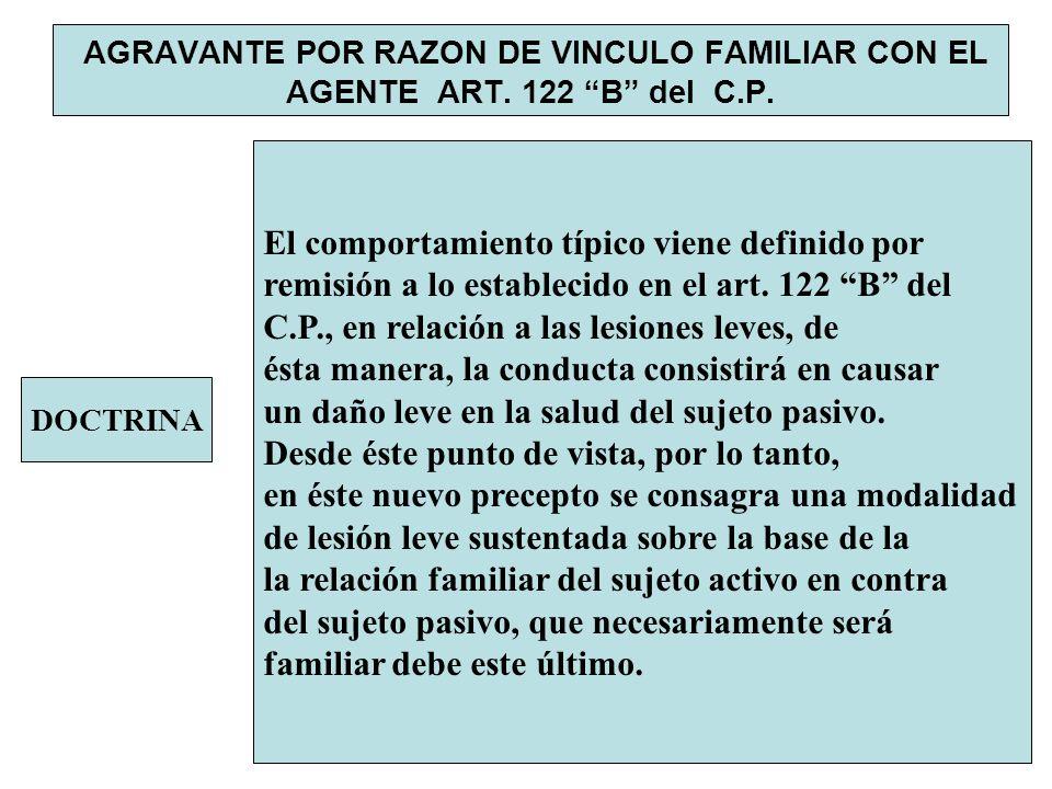 AGRAVANTE POR RAZON DE VINCULO FAMILIAR CON EL AGENTE ART. 122 B del C.P. DOCTRINA El comportamiento típico viene definido por remisión a lo estableci