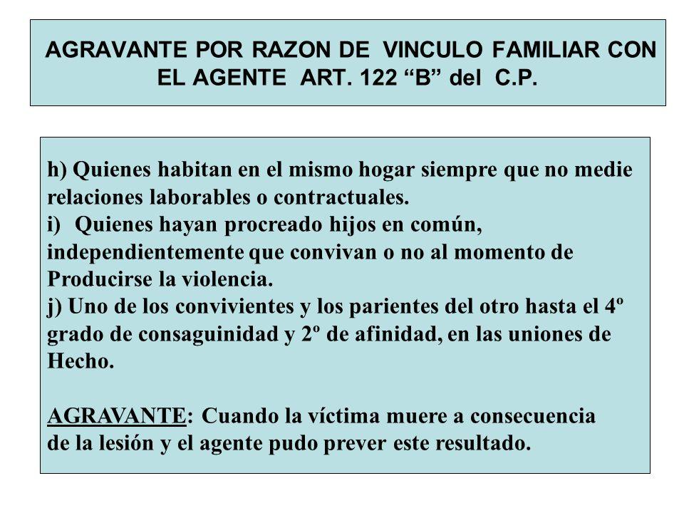 AGRAVANTE POR RAZON DE VINCULO FAMILIAR CON EL AGENTE ART. 122 B del C.P. h) Quienes habitan en el mismo hogar siempre que no medie relaciones laborab
