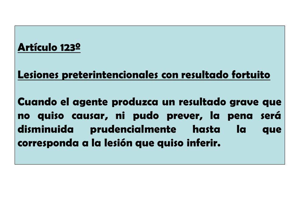 Artículo 123º Lesiones preterintencionales con resultado fortuito Cuando el agente produzca un resultado grave que no quiso causar, ni pudo prever, la
