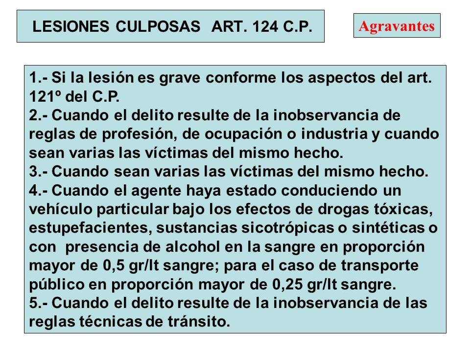 LESIONES CULPOSAS ART. 124 C.P. 1.- Si la lesión es grave conforme los aspectos del art. 121º del C.P. 2.- Cuando el delito resulte de la inobservanci