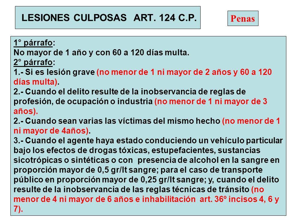 LESIONES CULPOSAS ART. 124 C.P. 1° párrafo: No mayor de 1 año y con 60 a 120 días multa. 2° párrafo: 1.- Si es lesión grave (no menor de 1 ni mayor de