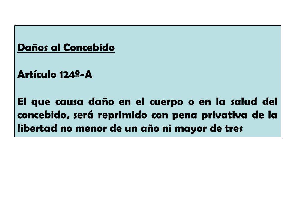 Daños al Concebido Artículo 124º-A El que causa daño en el cuerpo o en la salud del concebido, será reprimido con pena privativa de la libertad no men