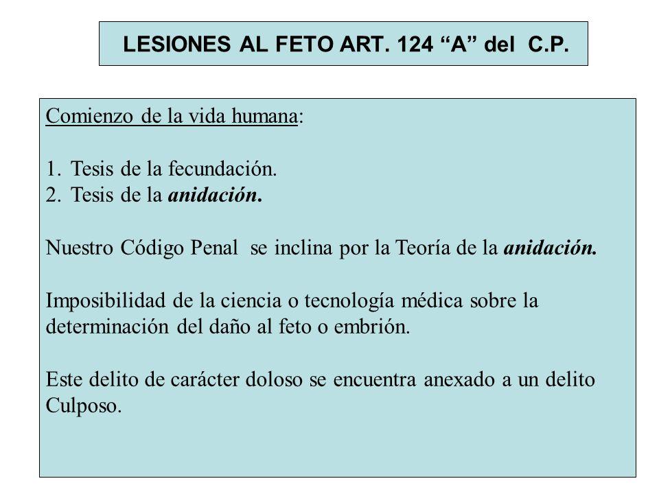 LESIONES AL FETO ART. 124 A del C.P. Comienzo de la vida humana: 1.Tesis de la fecundación. 2.Tesis de la anidación. Nuestro Código Penal se inclina p