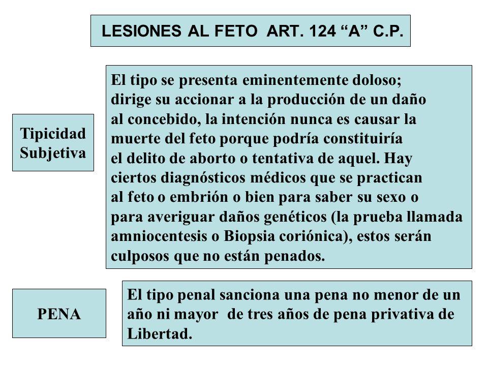 LESIONES AL FETO ART. 124 A C.P. Tipicidad Subjetiva El tipo se presenta eminentemente doloso; dirige su accionar a la producción de un daño al conceb