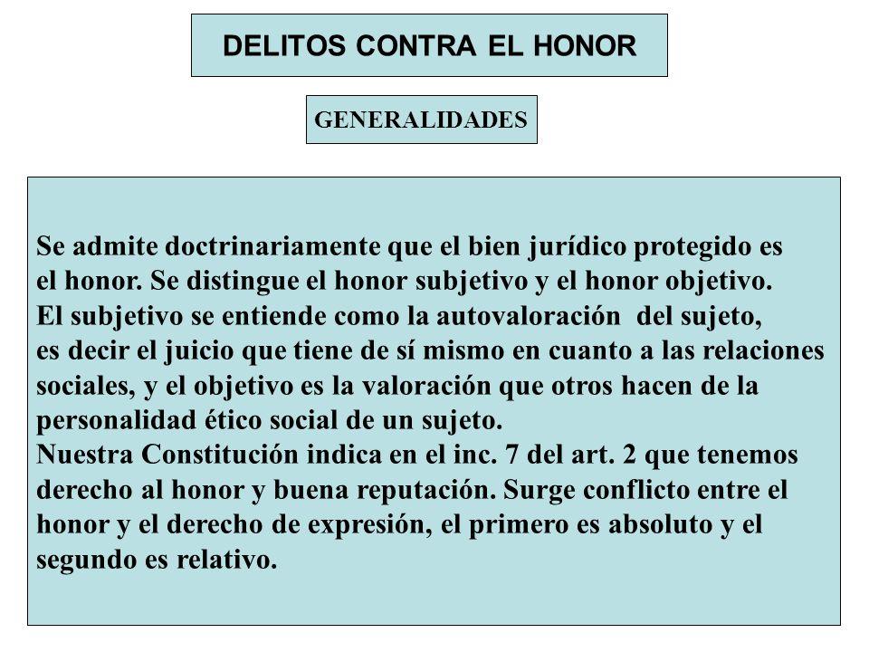 DELITOS CONTRA EL HONOR GENERALIDADES Se admite doctrinariamente que el bien jurídico protegido es el honor. Se distingue el honor subjetivo y el hono