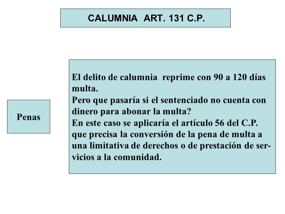 CALUMNIA ART. 131 C.P. Penas El delito de calumnia reprime con 90 a 120 días multa. Pero que pasaría si el sentenciado no cuenta con dinero para abona