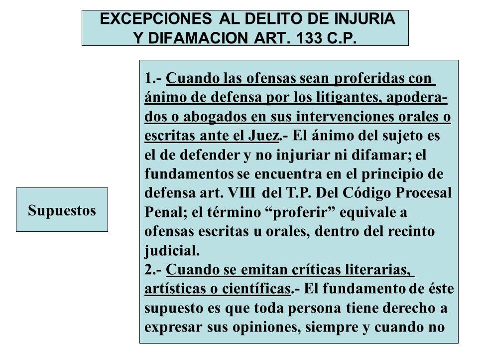 EXCEPCIONES AL DELITO DE INJURIA Y DIFAMACION ART. 133 C.P. Supuestos 1.- Cuando las ofensas sean proferidas con ánimo de defensa por los litigantes,